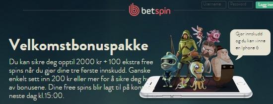 BetSpin free spins og Casino bonus norge