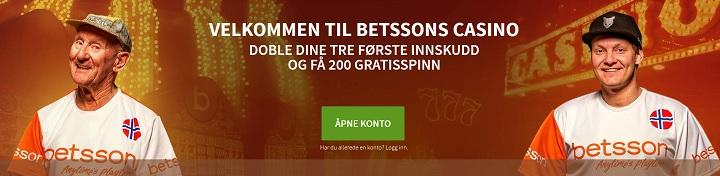 200 gratis spinn og 3000 kr bonus fra Betsson